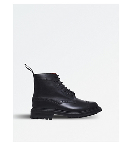 JUNYA WATANABE Junya Watanabe Comme des Garcons x Tricker's leather ankle boots (Blk/red