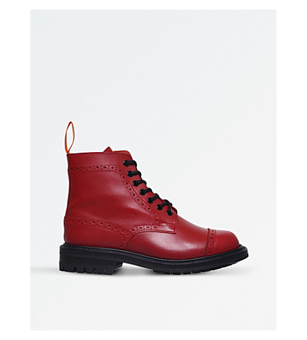 JUNYA WATANABE x Tricker's Super Boot leather ankle boots (Red