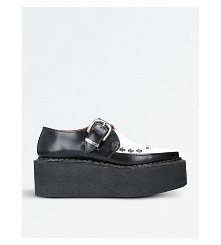 JUNYA WATANABE Monkstrap leather flatform brothel creepers (Blk/white