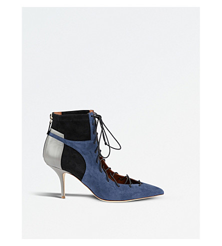 MALONE SOULIERS Montana 70 lace-up leather and suede heeled ankle boots (Navy
