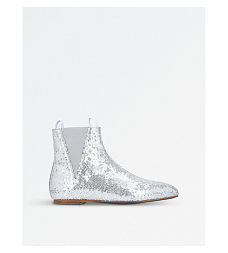 LOEWE Flat sequin ankle boots (Silver