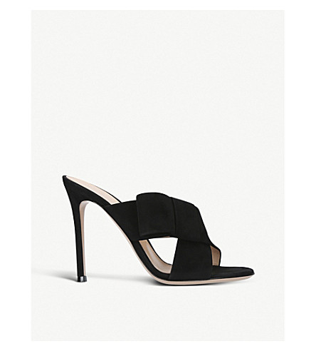 GIANVITO ROSSI Devon 105 suede heeled mules (Black