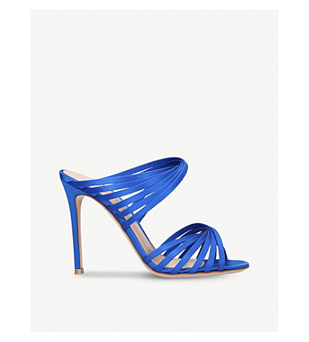 GIANVITO ROSSI Gene criss-cross satin mules (Blue