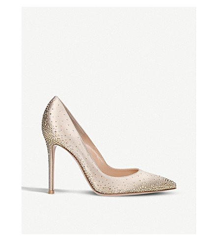 GIANVITO ROSSI Iridium embellished satin courts (Taupe