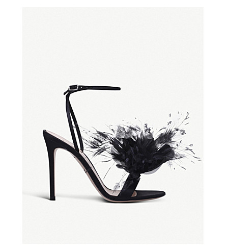 GIANVITO ROSSI Selha 105 satin and feather heeled sandals (Black