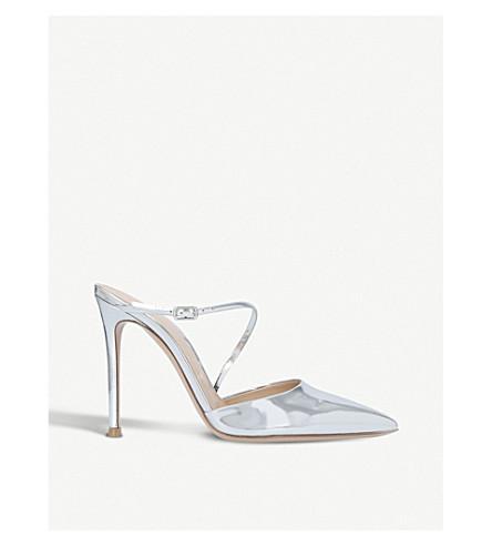 GIANVITO ROSSI Manhattan metallic-leather mules (Silver
