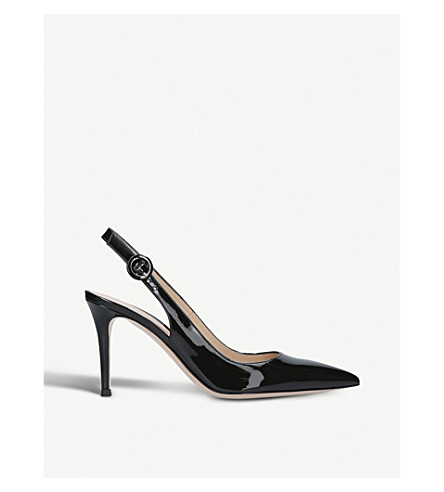 GIANVITO ROSSI Anna 85 patent-leather slingback courts (Black