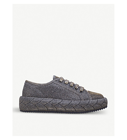 MARCO DE VINCENZO Braided lurex trainers (Metal+comb