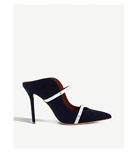 MALONE SOULIERS Maureen slip-on suede mules (Navy