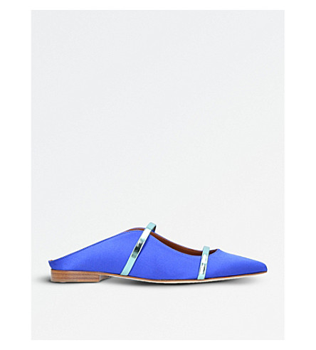 MALONE SOULIERS Maureen satin backless flats (Blue