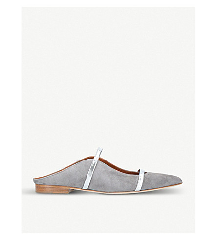 MALONE SOULIERS Maureen suede flats (Grey/d.cmb