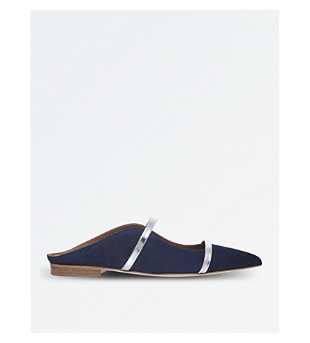 MALONE SOULIERS Maureen suede and leather flats (Navy