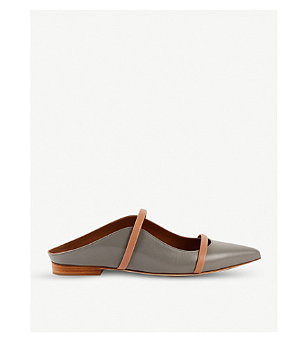 MALONE SOULIERS Maureen backless leather flats (Grey/d.cmb