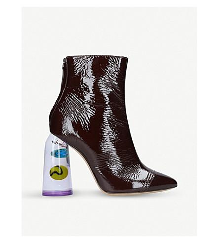 ELLERY Patent leather bubble-heel boots (Wine