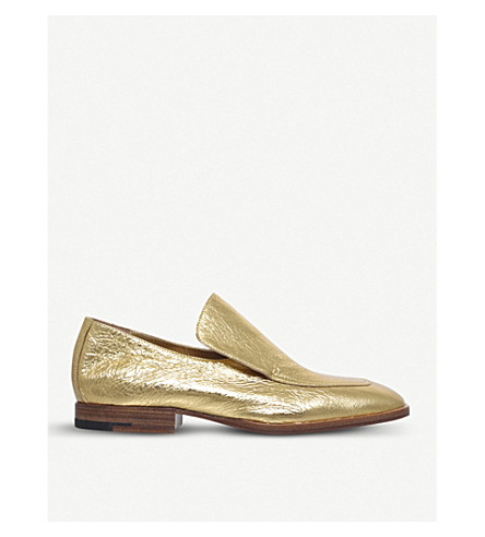 DRIES VAN NOTEN Square toe metallic-leather loafers (Gold