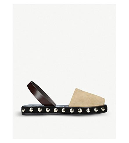 LOEWE Studded suede slingback sandals (Gold