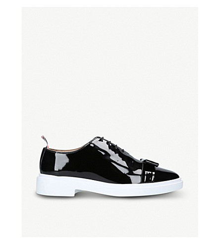 THOM BROWNE Bow-detail patent-leather oxford shoes (Blk/white