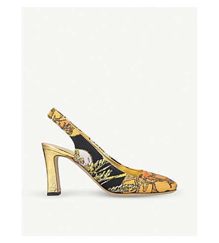 DRIES VAN NOTEN Metallic-jacquard and leather slingback pumps (Gold
