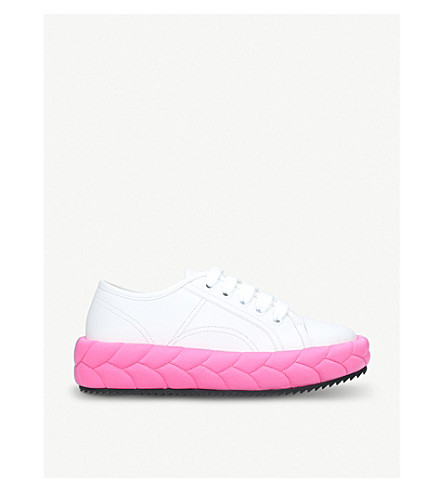 MARCO DE VINCENZO Treccia braided leather low-top trainers (White/oth