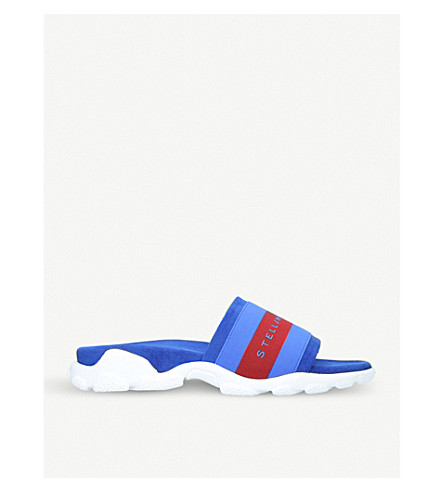 STELLA MCCARTNEY Pool striped sliders (Blue+other