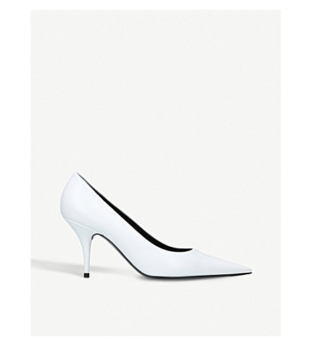 BALENCIAGA Knife leather pointed toe pumps (White