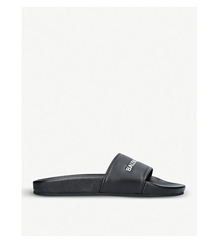 BALENCIAGA Logo Flat Pool Side leather slide sandal (Black