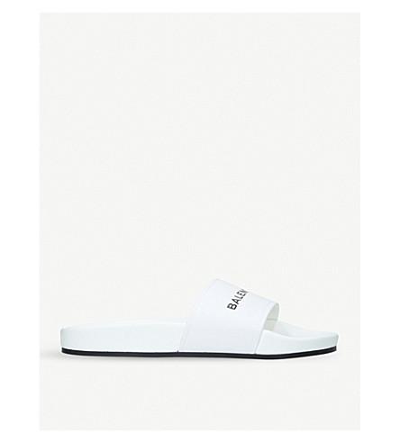 BALENCIAGA Logo Flat Pool Side leather sliders (White