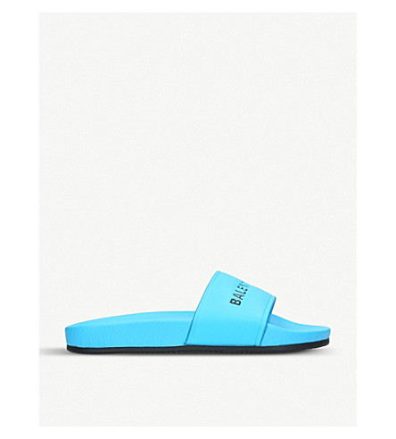 BALENCIAGA标志平池边皮革拖鞋 (绿松石