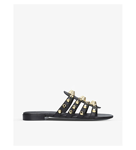 BALENCIAGA Gwen studded leather sandals (Black