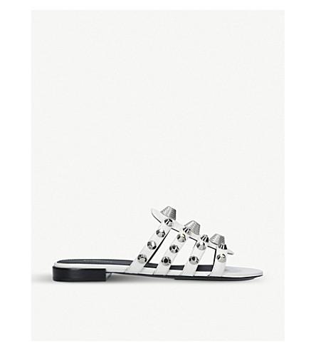 BALENCIAGA Gwen studded leather sandals (White/oth