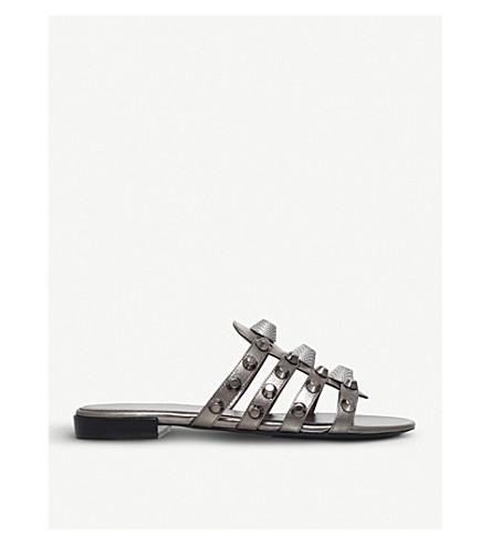 BALENCIAGA Gwen studded leather sandals (Gunmetal