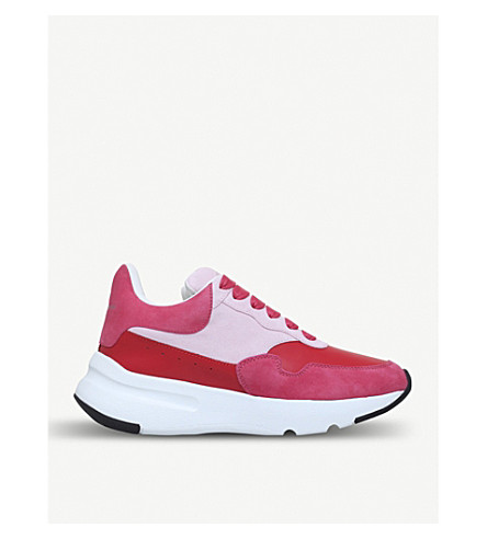 ALEXANDER MCQUEEN Runner leather and suede trainers (Pink+comb