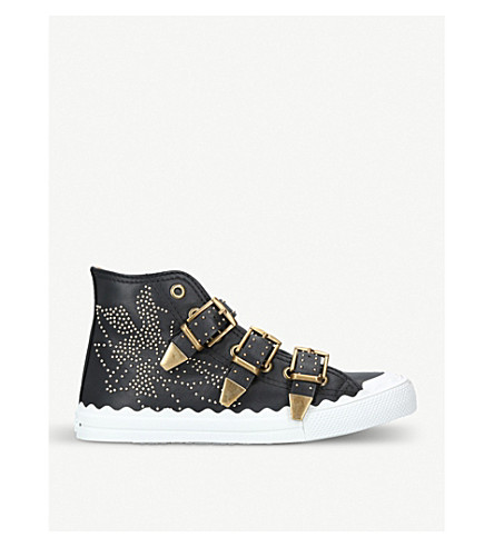 CHLOE Kyle studded leather high-top trainers (Black