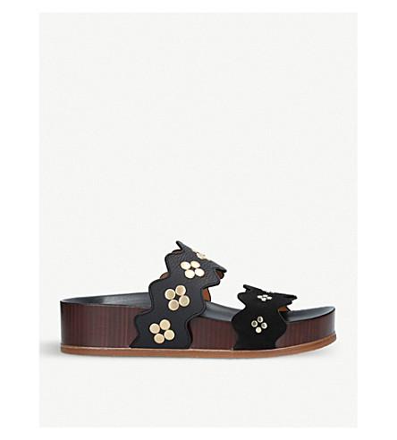 CHLOE Lauren studded leather flatform sandals (Black
