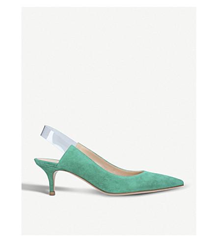 GIANVITO ROSSI 树脂 55 slingback 皮革宫廷鞋 (绿色