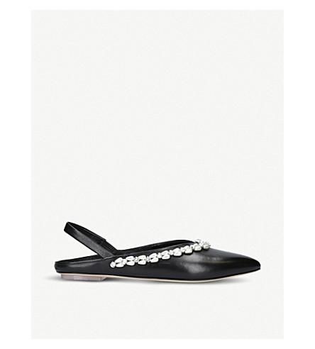 SIMONE ROCHA Embellished leather pointed-toe flats (Black