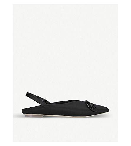 SIMONE ROCHA Bead-embellished satin pointed-toe flats (Black