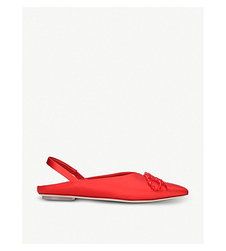 SIMONE ROCHA Beaded bow-detail satin flats (Red