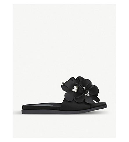 SIMONE ROCHA 3D flower-embellished sliders (Black