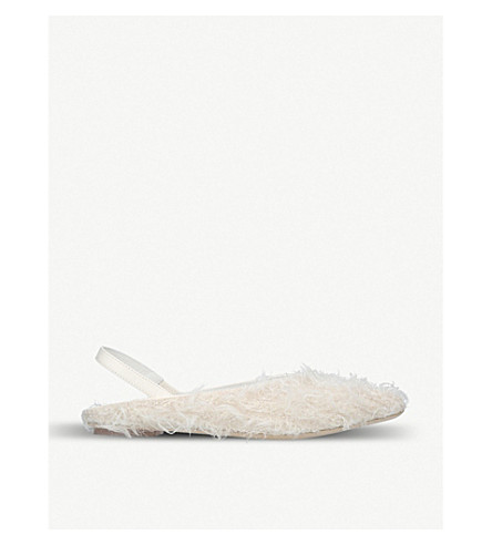 SIMONE ROCHA Leather-trimmed faux-shearling pointed-toe flats (Cream