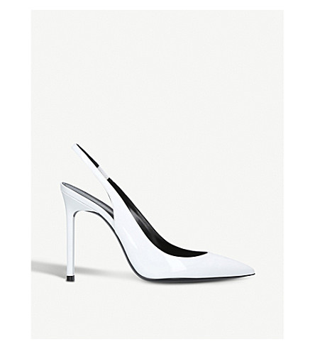 SAINT LAURENT Anja 105 leather slingback courts (White