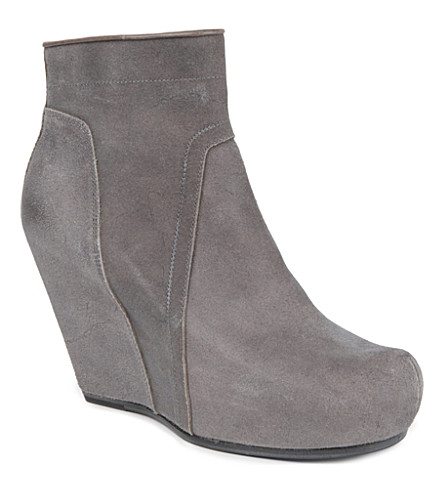 RICK OWENS Styler leather wedge boots (Grey