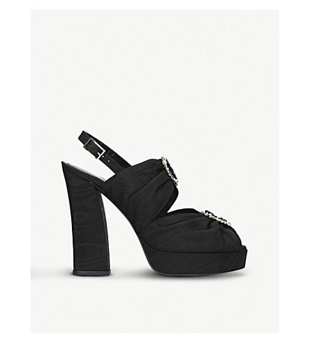 ERDEM Daniella embellished moire platform sandals (Black