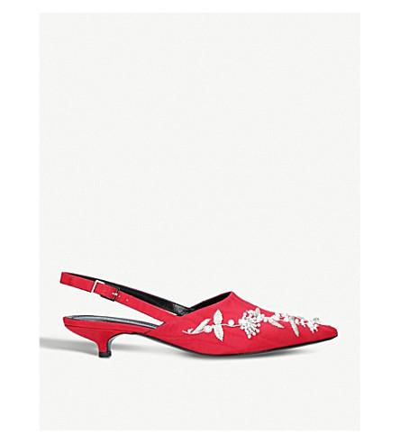 ERDEM Farida embellished kitten heels (Red