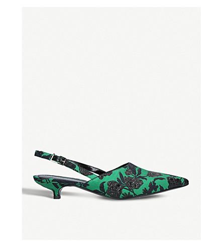 ERDEM Farida brocade slingback kitten heels (Green+comb