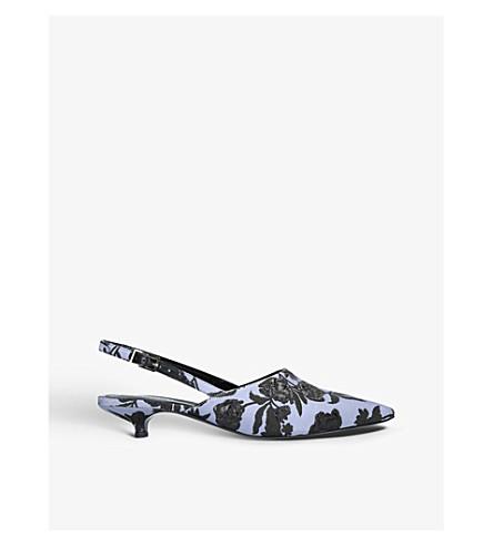 ERDEM Farida brocade slingback kitten heels (Blue+other