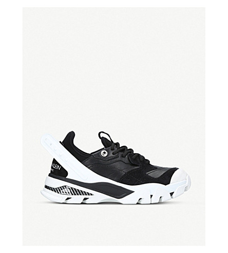 CALVIN KLEIN COLLECTION Carla suede-panelled leather trainers (Black