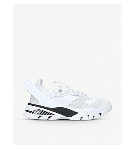 CALVIN KLEIN COLLECTION Carla suede-panelled leather trainers (White