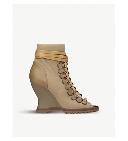 CHLOE River lace-up leather-trimmed canvas wedge boots (Brown/oth