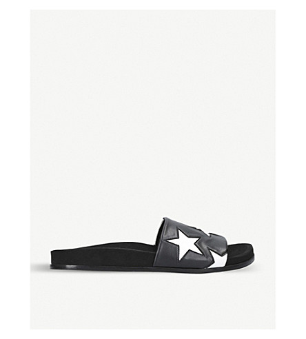 STELLA MCCARTNEY Star faux-leather sliders (Blk/white